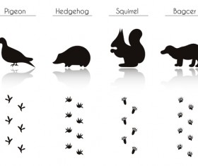 Animals with footprint silhouette vector material 08