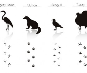 Animals with footprint silhouette vector material 09