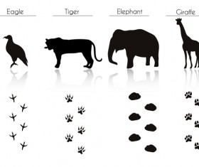 Animals with footprint silhouette vector material 11