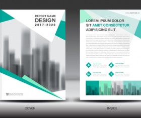Annual report brochure green cover template vector 01