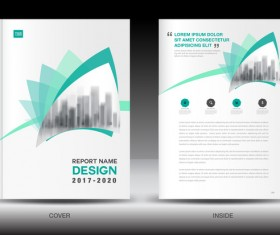 Annual report brochure green cover template vector 02