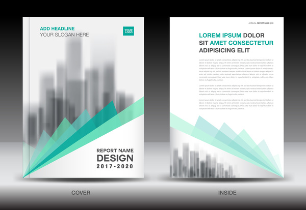 Annual report brochure green cover template vector 03