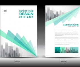 Annual report brochure green cover template vector 04