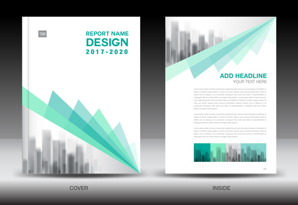 Annual Report Brochure Green Cover Template Vector 04 Free Download