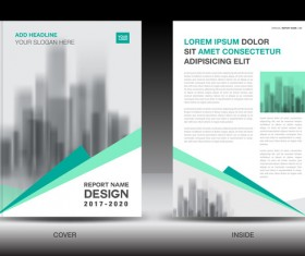 Annual report brochure green cover template vector 05