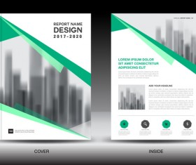 Annual report brochure green cover template vector 06