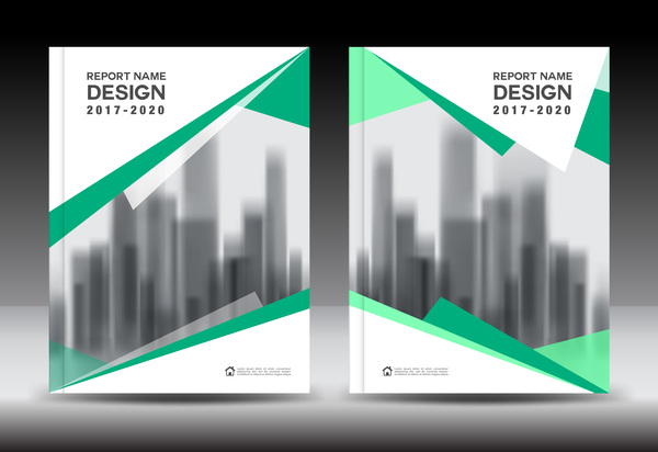 Annual report brochure green cover template vector 07