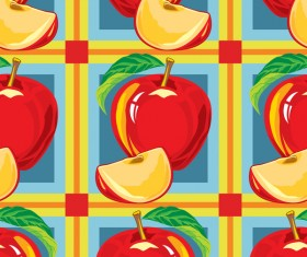 Apple red pattern seamless vectors 04