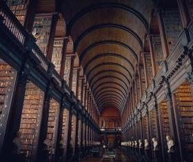 Awesome architecture of ancient library Stock Photo