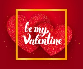Be My Valentine Postcard Template vector