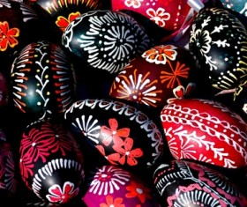 Beautiful hand painted Easter eggs Stock Photo