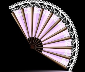 Beautiful lace feather folding fan vector
