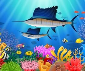 Beautiful underwater world design vector 01