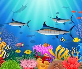 Beautiful underwater world design vector 02