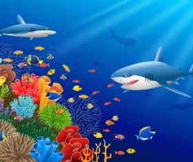 Beautiful underwater world design vector 03