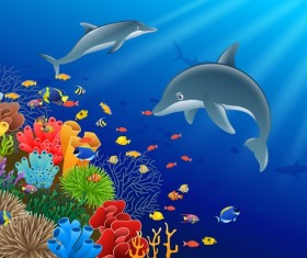 Beautiful underwater world design vector 04