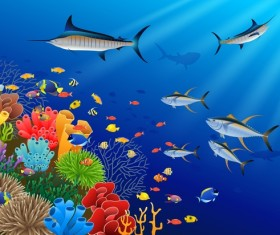 Beautiful underwater world design vector 05