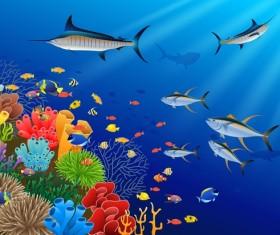 Beautiful underwater world design vector 05