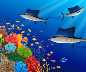 Beautiful underwater world design vector 06