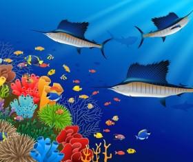 Beautiful underwater world design vector 06