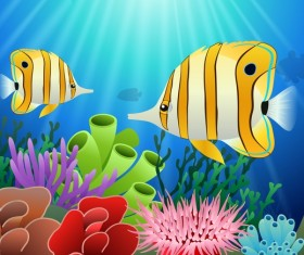 Beautiful underwater world design vector 07