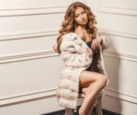 Beautiful woman in fur coat Stock Photo 02