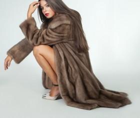 Beautiful woman in fur coat Stock Photo 04