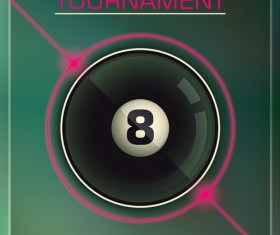 Billiards tournament poster template vector