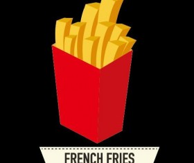 Black background with french fries illustration vector