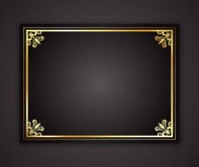 Black background with golden frame vector