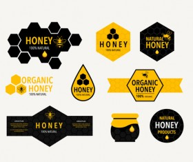 Black with yellow honeycomb labels vector