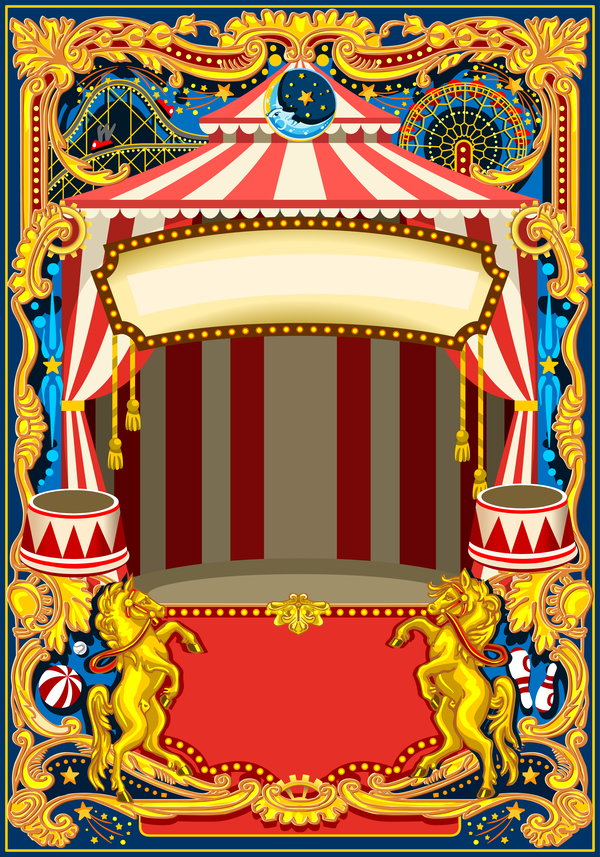 Blank carnival poster template vectors 06 free download