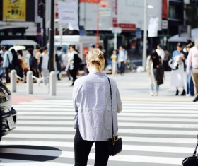 Blonde woman travel in Asia Stock Photo