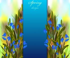 Blue flower spring background art vector 01
