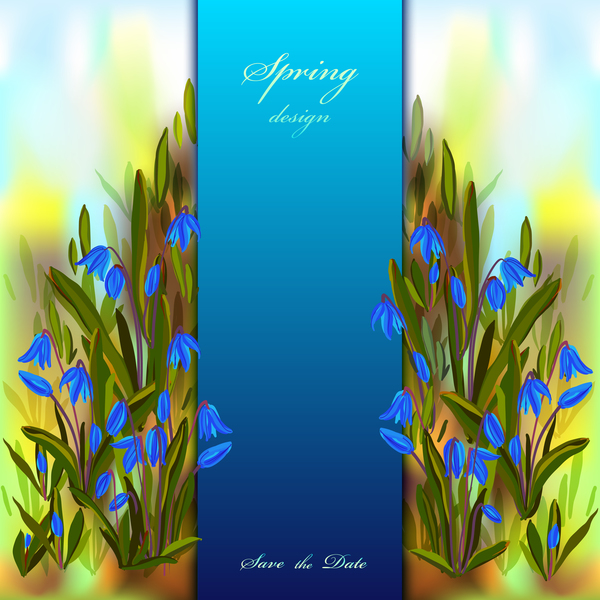 blue flower spring background art vector 01 vector