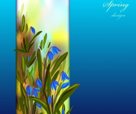 Blue flower spring background art vector 02