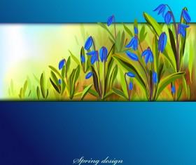 Blue flower spring background art vector 03