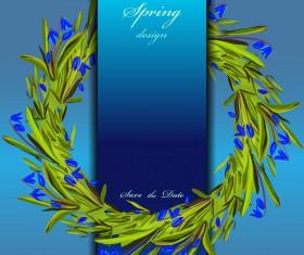Blue flower spring background art vector 04