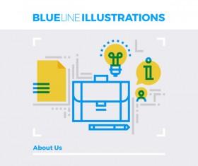 Blue line business template vector 01