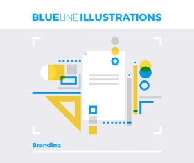 Blue line business template vector 03