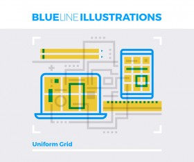 Blue line business template vector 04