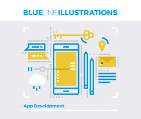 Blue line business template vector 05