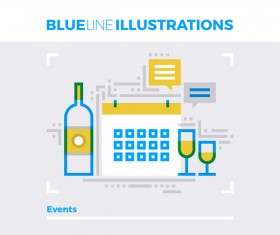 Blue line business template vector 06