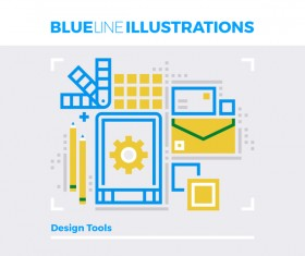 Blue line business template vector 07