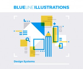 Blue line business template vector 08
