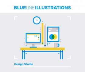 Blue line business template vector 09