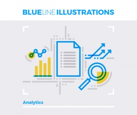 Blue line business template vector 10