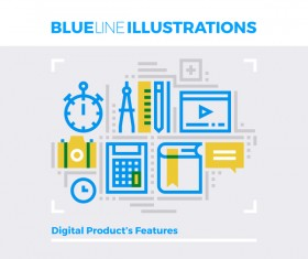 Blue line business template vector 12