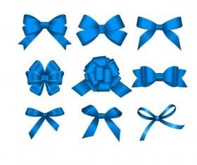 Blue ribbon bows vector material 01