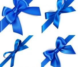 Blue ribbon bows vector material 02